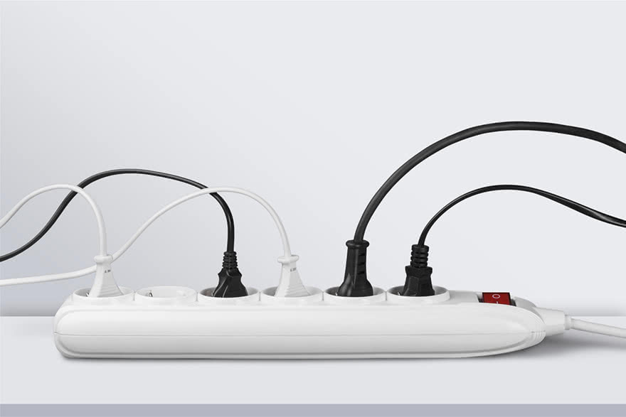 A power strip with several cords